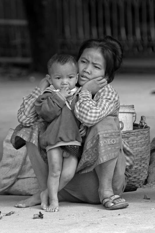 Black and White Mother and Child at the market place