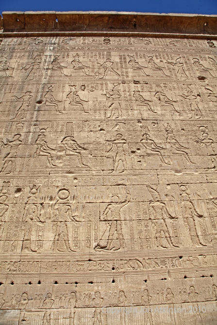 Reliefs on the side of Temple of Hathor, Dendera