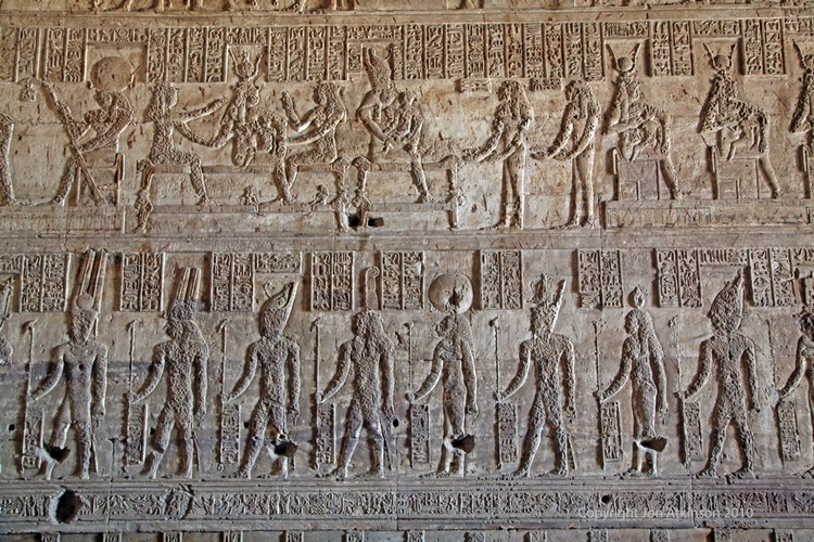 Damaged reliefs, Temple of Hathor, Dendera
