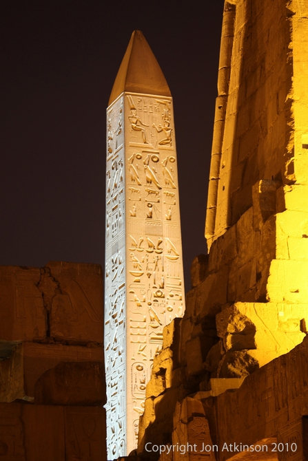 Illuminated Pink granite obelisk, Luxor Temple