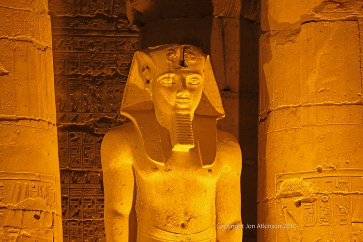 Statue in peristyle courtyard of Ramesses II