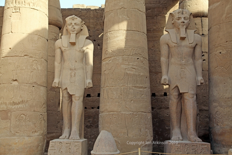 Statues in peristyle courtyard of Ramesses II